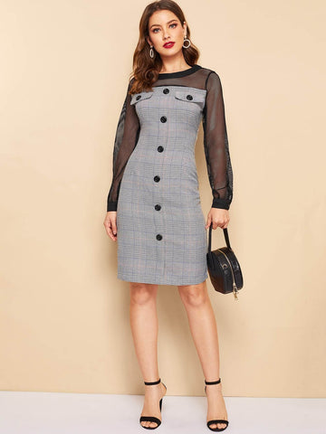 Round Neck Long Sleeve Button Front Plaid Fishnet Yoke Dress