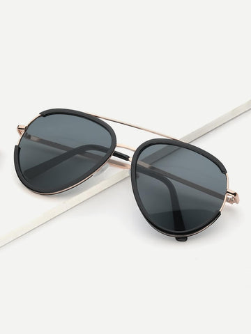 Grey Boho Metal Frame Top Bar Sunglasses