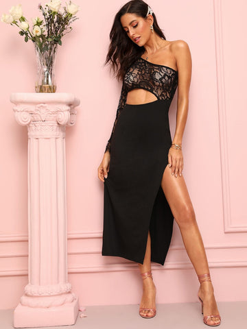 Black High Waist Lace Panel One Shoulder Cut Out Split Side Dress