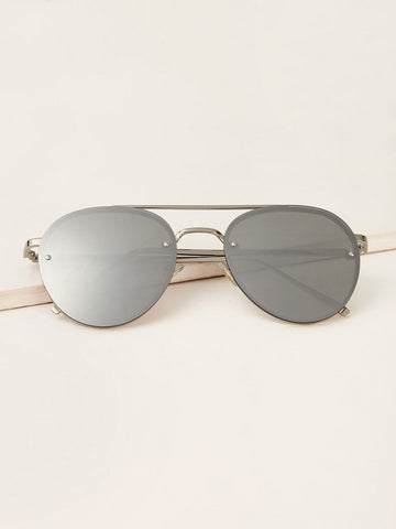 Silver Top Bar Mirror Lens Sunglasses