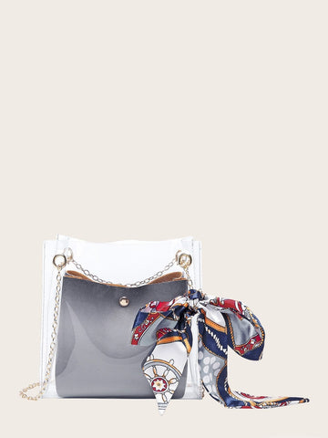Twilly Scarf Decor Clear Chain Bag