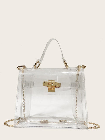 Convertable Twist Lock Decor Satchel Bag