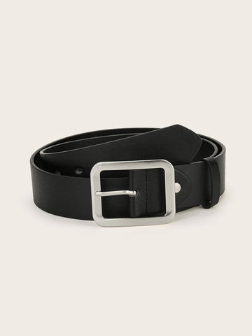 Black Square Metal Buckle Belt