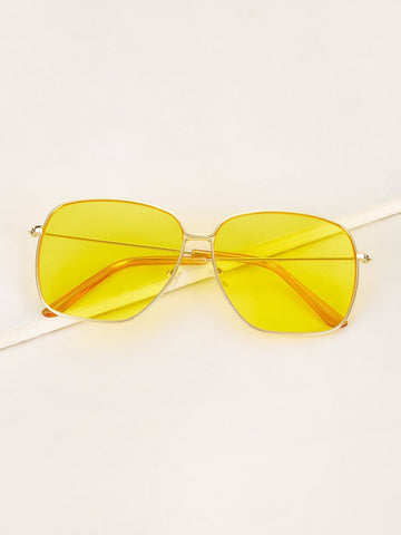 Yelow Boho Metal Frame Tinted Lens Sunglasses