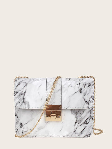 Small Marble Print Flap Chain Crossbody Bag