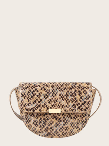 Adjustable Animal Print Flap Crossbody Bag