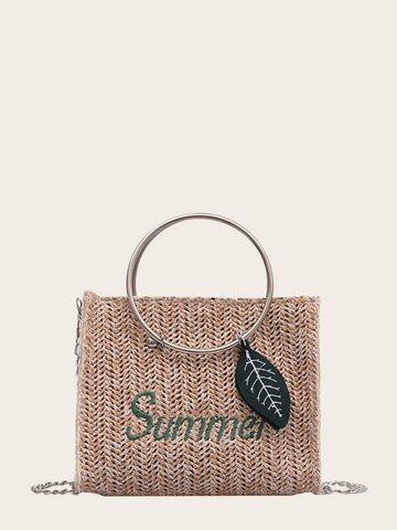 Adjustable Letter Embroidered Woven Satchel Bag