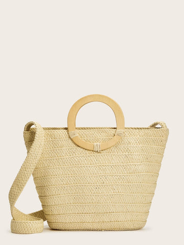 Beige Double Ring Handle Woven Satchel Bag
