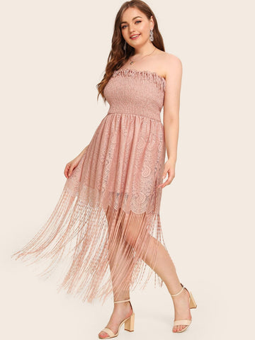 Plus Size Pink Sleeveless Strapless Shirred Guipure Lace Macrame Tube Dress
