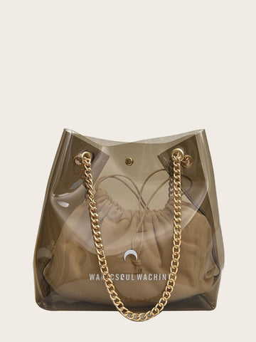 Slogan Print Clear Bag With Inner Pouch