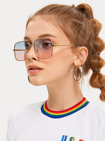Boho Full Rim Top Bar Ombre Lens Square Sunglasses