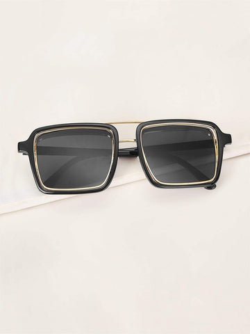 Black Top Bar Square Sunglasses