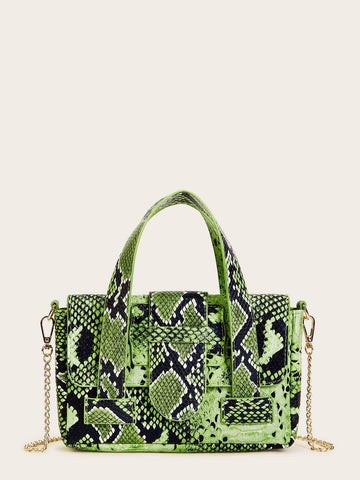 Green Chain Strap Snakeskin Print Satchel Bag