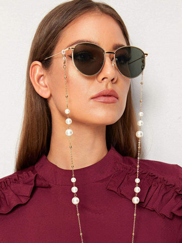 Faux Pearl Decor Metal Glasses Chain