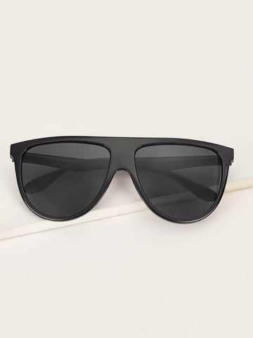Black Solid Frame Flat Lens Sunglasses