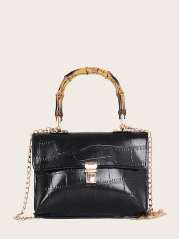 Black Metal Lock Croc Embossed Satchel Bag