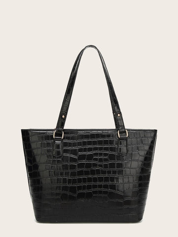 Black Double Handle Croc Embossed Tote Bag