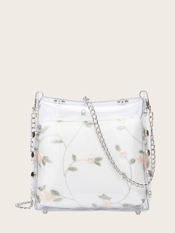 White Floral Embroidered Clear Chain Bag