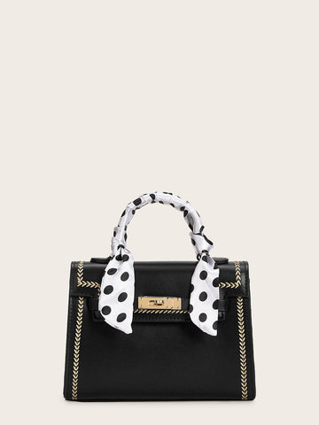 Black and Withe Polka Dot Twilly Scarf Satchel Bag