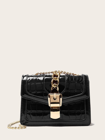 Black Metal Chain Decor Croc Embossed Crossbody Bag