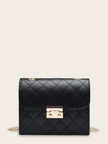 Black Quilted Flap Chain Crossbody Bag