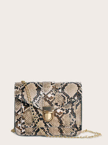 Push Lock Snakeskin Chain Bag