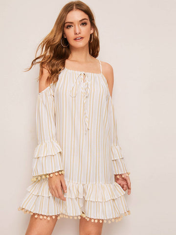 Spaghetti Strap Cold Shoulder Striped Tie Front Ruffle & Pom Pom Trim Dress