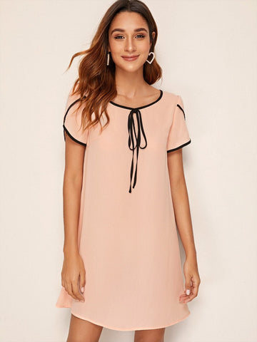 Pastel Pink Round Neck Petal Sleeve Contrast Binding Tie Front Dress
