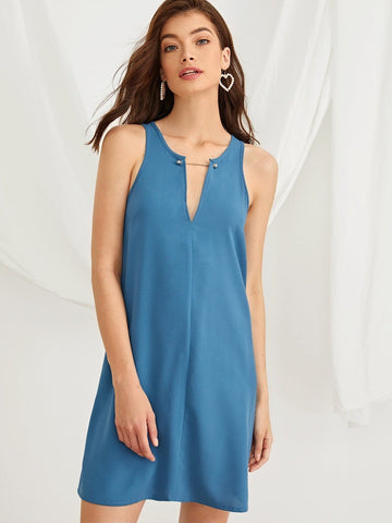 Blue Sleeveless Solid Notch Neck Keyhole Back Dress