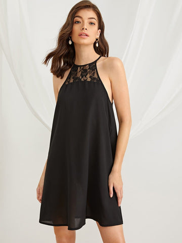 Black Sleeveless Contrast Lace Swing Hem Halter Dress
