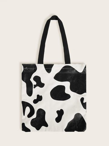 Black and White Double Handle Cow Print Shopper Bag