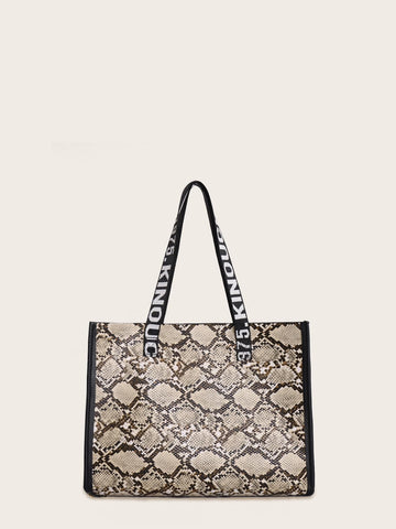Snakeskin Print Tote Bag With Letter Handle