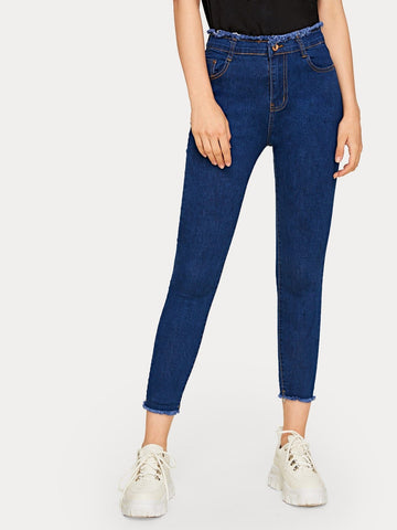 Blue Button Waist Raw Hem Basic Crop Jeans