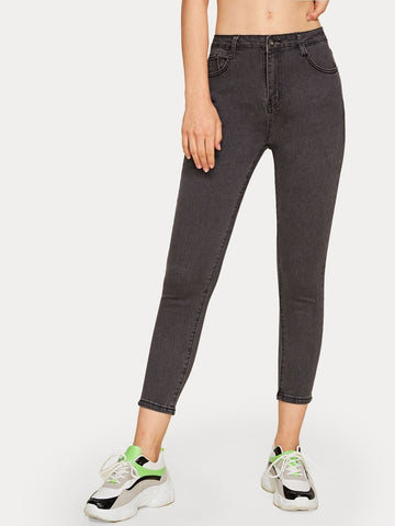 Grey Button Waist Solid Basic Crop Jeans