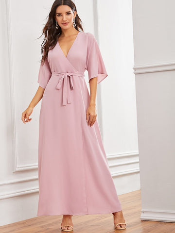 Pastel Pink Fit and Flare V-Neck Solid Split Thigh Wrap Belted Dress