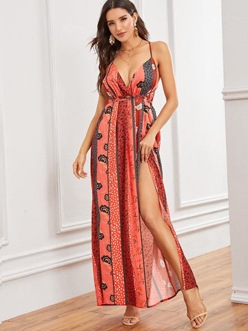 Sleeveless Spaghetti Strap Tribal Print Split Thigh Criss-cross Backless Slip Dress