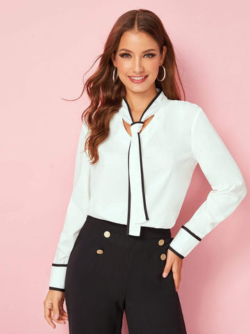 White Contrast Binding Tie Neck Blouse Top
