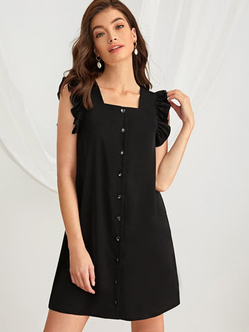 Black Square Neck Button Front Ruffle Sleeve Tunic Dress