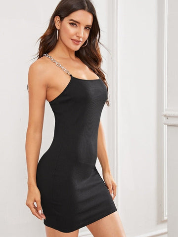 Black Sleeveless Chain Straps Rib-knit Bodycon Dress