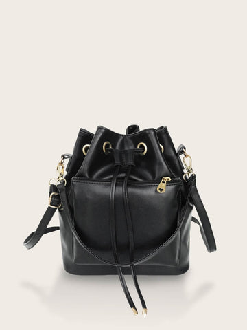 Black Pocket Front Bucket Bag With Drawstring