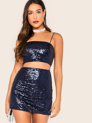 Navy Blue Sequin Spaghetti Strap Sleeveless Cami Top & Skirt Set