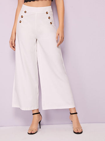 White Button Detail High Waist Wide Leg Pants