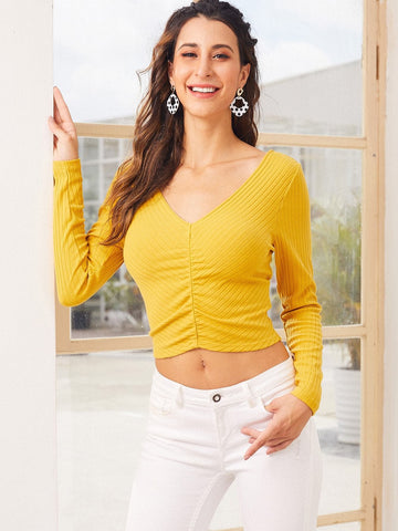 Yellow Double V-Neck Rib-knit Slim Fit Tee Top