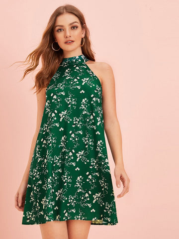 Green Sleeveless Ditsy Floral Print Tie Back Halter Dress