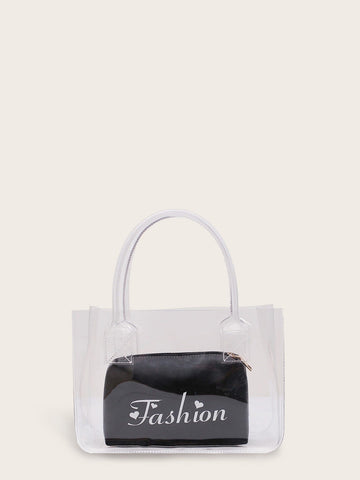 Clear Tote Bag With Letter Print Inner Pouch