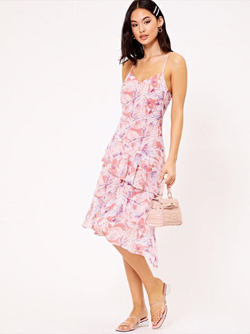 Pink V-Neck Sleeveless Water Colour Floral Ruffle Slip Dress