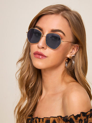 Grey Metal Polygon Frame Sunglasses