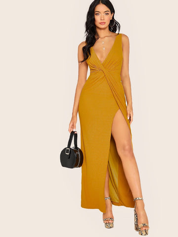 Mustard Yellow Deep V-Neck Sleeveless Twist Drape Front Rib Knit Maxi Tank Dress