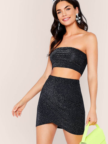 Black Strapless Sleeveless Glitter Tube Top & Asymmetrical Hem Skirt Set