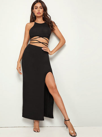 Black Sleeveless Crisscross Tie Back Top & Split Thigh Skirt Set